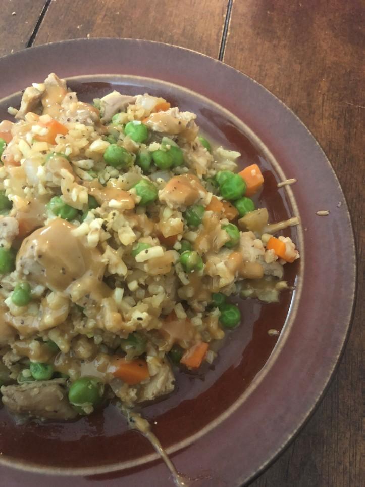 chicken friend cauli rice with peanut sause